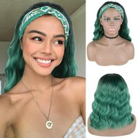 Synthetic Wigs 10 12 14 Inches Ombre Green Gray Brown Bob Wig With Headband Glueless Water Wave Hair