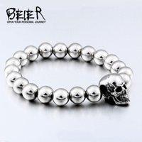 Charm Bracelets BEIER Steampunk Metal Skull Elastic Steel Beads Chain Skeleton Men Sets Male Hand Accessories Man GiftHSS006