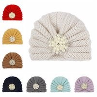 Caps & Hats 16*12.5 CM Toddler Solid Color Knitting Wool Fashion Pearls Rhinestone Crochet Striped Baby Headwear Christmas Gifts