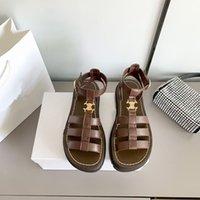Sapato 2021 designers de luxo Sandal retro moda de couro sandálias mulher 2 cor antiderrapante sapatos lisos com chinelos tamanho35-40 alta Qualiyt