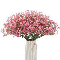 Simulación de plástico flores Ramo de gypsophila falso artificial realista para decoración de boda Familia Familia Decoración decorativa decorativa coronas decorativas