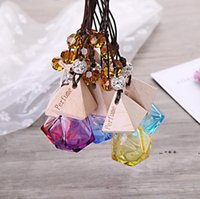 Car Perfume Bottle With Wood Cap Hanging Rearview Ornament Air Freshener For Essential Oils Diffuser Refillable Empty Glass Bottle RRE10489