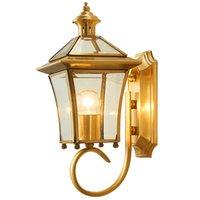 All Copper Outdoor Wall Lamp Waterproof Balcony Modern Garden Villa Aisle Corridor E27 Lamps