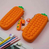 Cartoon Slicone Carrot Poppet Bubble Fidget Toy Pencil Box Stationary Bag Simple Key Ring Students Storage Purses Christmas Kids Gift Anti Anxiety Toys G95F43O