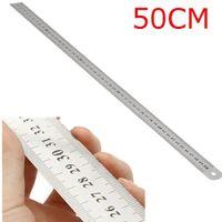 حلقة السعي 50 سنتيمتر الفولاذ المقاوم للصدأ مزدوجة الجانب مقياس مستقيم مسطرة أداة قياس