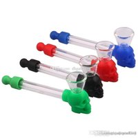 New Arrival Multicolor Silicone Skull Glass Pipe Hand Smoking Pipe Glass Tube Cigarette Water Pipe with Screen
