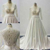 2016 A Line Wedding Dresses Inspired by cosmobella 7746 Plunging V Neckline Lace Satin Princess Bridal Gowns with Three Quarter L