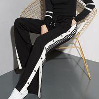 QNPQYX New Vintage Women Joggers Sweatpants Casual Split fork Pants Women Stripe Hip Hop Sweat Pants Streetwear Button Trousers
