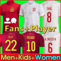 Fans Version du joueur Spain maillot de football 2021 PACO MORATA A.INIESTA PIQUE Chemise Espagne 20 21 Coupe d'Europe ALCACER SERGIO ALBA hommes femmes kit uniformes