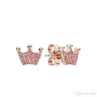 Cute Women Pink Crown Stud Earrings luxury designer jewelry for Pandora 925 Sterling Silver Earring with Original box sets