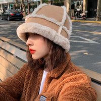 Wide Brim Hats Luxruy Winter Bucket For Women Fluffy Fur Plush Thick Warm Patchwork Beanie Young Lady Students Harajuku Cap