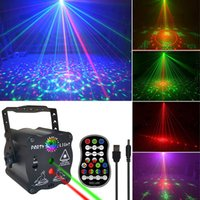 Party Stage Laser Lighting USB Charge Strobe DJ Disco Light Sound Activated Remote Control Projector Lamp for Home Birthday Bar Rave Wedding Christmas