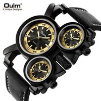 Orologio da polso Oulm Sport Top Brand Orologi da uomo in pelle Band di lusso quarzo GMT, orologio individuale luminoso
