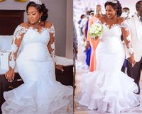 Plus size Mermaid Illusion Long Sleeves Wedding Dresses Bridal Gowns South African Country Designer Applique Ruffled Organza Reception Dress Vestido De Arabic