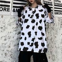 Women's T-Shirt QWEEK Cow Print Oversized White For Women 2021 Fashion Korean Style Kawaii Cute Summer T-shirts Top Streetwear