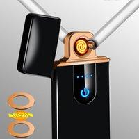 USB Şarj Edilebilir Çakmak Elektrikli Isı Dokunmatik Sensörü Metal Sigara Çakmak Rüzgar Geçirmez İnce Şarj Algılama LED Tam Ekran