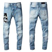 Разорванные модные дизайн мотоцикл синий джинсовый Тришер плюс тонкий подходит стритальный джинсовый мужской широкой ноги свободно джинсовый парень