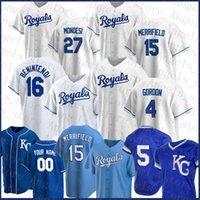Kansas City Custom Royals Baseball Jersey 16 Andrew Benintendi 16 Bo Jackson 15 Whit Merrifield 5 George Brett 13 Salvador Perez Alex Gordon