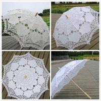 68 cm mango largo encaje paraguas hechos a mano arte boda dama de honor regalos bordados boda parasol romántico nupcial fotografía
