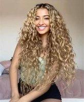 Synthetische Perücken Afro Kinky Perücke Afrikanische Frauen Kleine Rolle Schwarzer Farbverlauf Gelb Split Lange Curl Haar Flauschige realistische Naturfaser