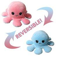 24 часа DHL ahipping! Creative Reversible Flip Octopus Кукла Симпатичное настроение Двусторонние Фаршированные Животные Подушки для детей Подарочные Детские Игрушки