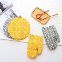 Forno Mitts Quaretaw 1 Parte Bonito Amarelo Cinza Algodão Moda Nordic Cozinha Cozinhar Luvas de Microondas Cozimento Babez Pomo