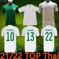 2021 22 Algerie Maillot de Футбол Футбол Футбол Фанса Проигрыватель Версия 2 звезды Главная Белый Махрес Bounedjah Bouzza
