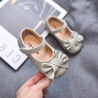 Flat Shoes Autumn Kids Girls Soft Leather Owtie Shaped Casual Fashion Children Dance Dress Baby Princess