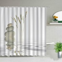 Shower Curtains Curtain Zen Stone Wild Grass Reflection In Water Bath Meditation Design Bathroom Decor Background Wall