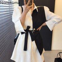 Nomikuma Dresses Korean Hit Color Patchwork Blouses Women Dress Bow Tie Slim Waist Vestido Feminino Spring New 6F789 210427
