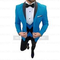 Men's Suits & Blazers Latest Designs Fashion Wedding Men Suit Set Slim Fit Blue Jackets For Groom Party Evening Dress Tuxedo Blazer Waistcoa