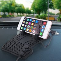 YK-22 Silicone Pad Dash Mat Cell Phone Car Mount Holder Cradle Dock With 2 in 1 Charging Cable With Magnetic Adsorption For iPhone Galaxy H