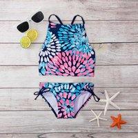 One-Pieces 2pcs Summer Swimwear Baby Girls Daisy Beach Sport Halter Tankini Swimsuit For Children Outfits Beachwear Bathing Suit