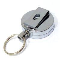 Metal Kart Rozeti Tutucu Çelik Recoil Halka Kemer Klip Çekme Anahtar Güvenlik Zinciri Reel Kimliği Kordon Adı Tag Rozeti Tutucu Anahtar Yüzük 205 Q2
