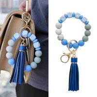 Women's PU tassel key chain, bracelet, silicone bead love letter, Handbag Pendant, best friend, gift, boutique jewelry J0607