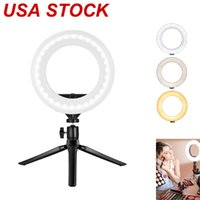 "4""Ring Light LED Desktop Selfie USB LEDs Desk Camera Ringlights 3 Colors Lighting with Tripod Stand Cell Phone Holder and for Photography Makeup Live Streaming"
