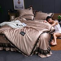 Bettwäsche-Sets Vier stück Waschen Seide Set Bettwäsche Kissenbezug Kieferabdeckung Waren für Haus- und Komfort-Lounge White Satin Tencel Sommer SJT022