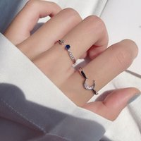 Hearts Chrome S925 Pure Silver Sun Moon Star Ring with Adjustable Opening for Women