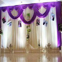 3*6m Wedding Party Stage Celebration Background Satin Curtain Drape Pillar Ceiling Backdrop Marriage decoration Veil dsf0608