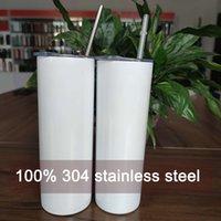 Tumblers retos da sublimação de 20oz com palha 100% 304 garrafas de água de aço inoxidável Copos isolados duplos canecas