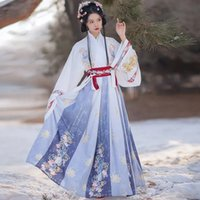 Chinese Traditional Ethnic Clothing Jin Dynasty Confucianism Skirt Hanfu Printing Embroidery Autumn And Winter Spot Dress Set