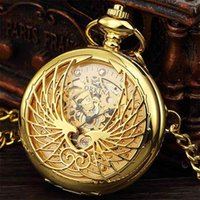ORKINA Fashion Style Golden Transparent Skeleton Eagle Mechanical Pocket Watches Mens Hand Wind & Fob Watch Chain Whatch 210707