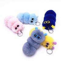 Cute Multicolor Caterpillar Keychain Candy Farbe Cartoon Plüsch Schlüsselanhänger Flauschige Tasche Dekoration Anhänger Auto Schlüsselanhänger Zubehör