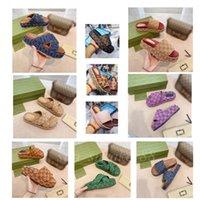 2021 Klasik Kadın Platformu Terlik Sandalet Slaytları Işlemeli Pamuk Yaz Parti Plaj Terlik Sandal Slayt 5 cm Düz Marka Tasarımcısı KUTUSU