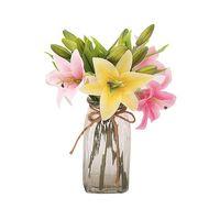 장식 꽃 화환 5 조각 / lot PU 인공 백합 무리 가짜 꽃 꽃다발 테이블 홈 웨딩 장식 가을 장식