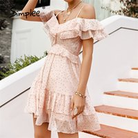 Simplee Sexy V-образным вырезом в горошек Print Женское платье Летний праздник стиль высокой талии rather Mini платья мода A-Line женское платье 210320