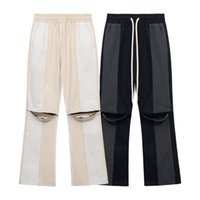 Knee Hole Color Block Drawstring Couple Casual Trousers Streetwear Oversize Baggy Mens Pants