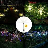 Lawn Lamps 1pcs Solar Powered Outdoor Grass Globe Dandelion Fireworks Lamp 90 LED For Garden Landscape Holiday Light#A