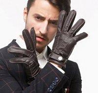 خمسة أصابع قفازات الرجال أزياء حقيقية ديرسكين جلدية دراجة نارية ركوب قفاز الحماية الباردة الشتاء القفازات S2182