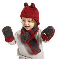 Kids Child Winter Polar Fleece Beanie Hat +Scarf + Mittens 3pcs set Cartoon Head Outdoor Headwear Suit Neck Warmer Earmuffers Gloves Ski Sports Customes G02LPBQ
